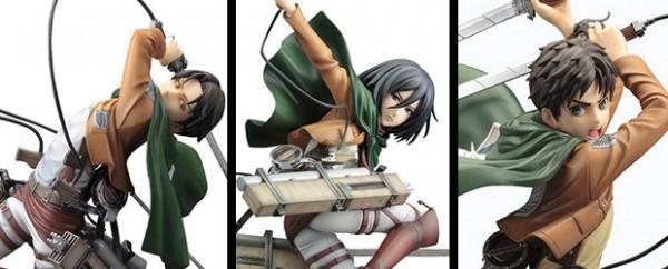 Figuras Mikasa, Eren y Levi de Ataque a los Titanes