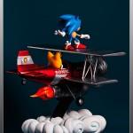 Sonic y Tails sobre su flamante Tornado